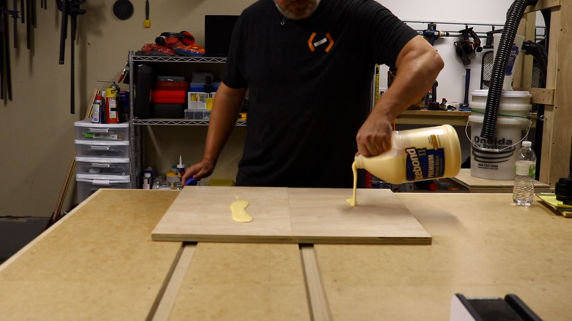 Gluing up the two pieces of the top