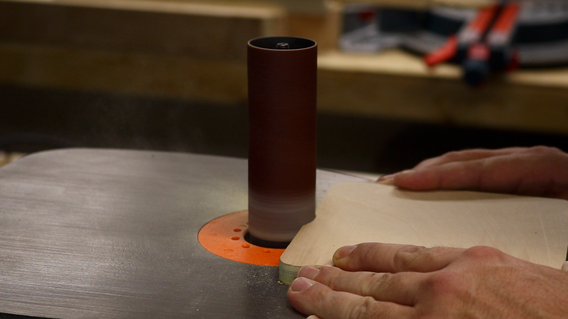 Sanding out a pull spot on the insert