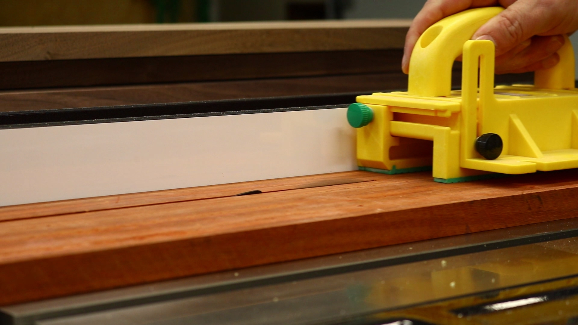 Ripping the boards to width at the table saw