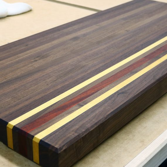 Walnut, Padauk, and Yellowheart Cutting Board