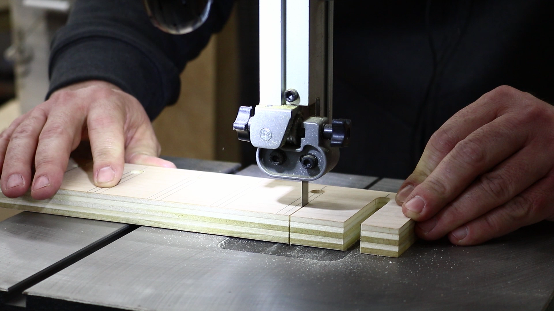 cutting the slots at the bandsaw