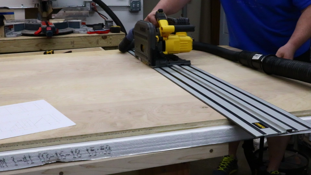 Breaking down the sheets with track saw
