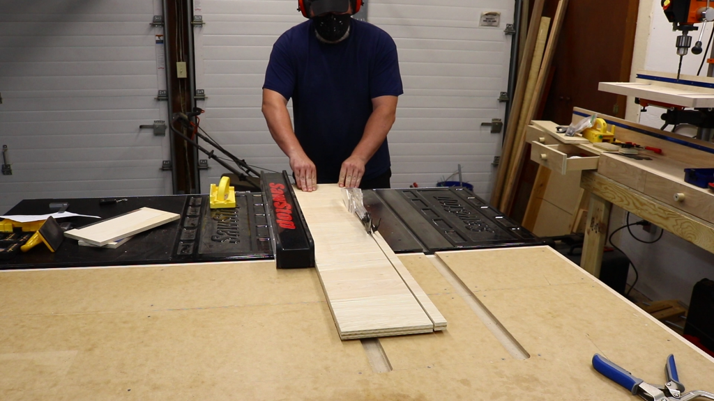 Cutting the dividers at the table saw