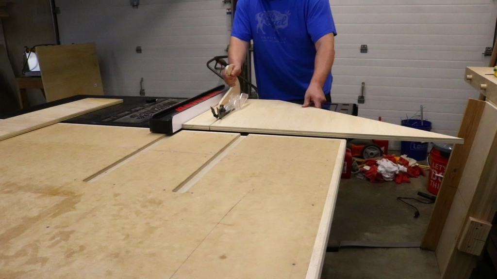 Cutting pieces to length for the scrap wood storage cart at the table saw