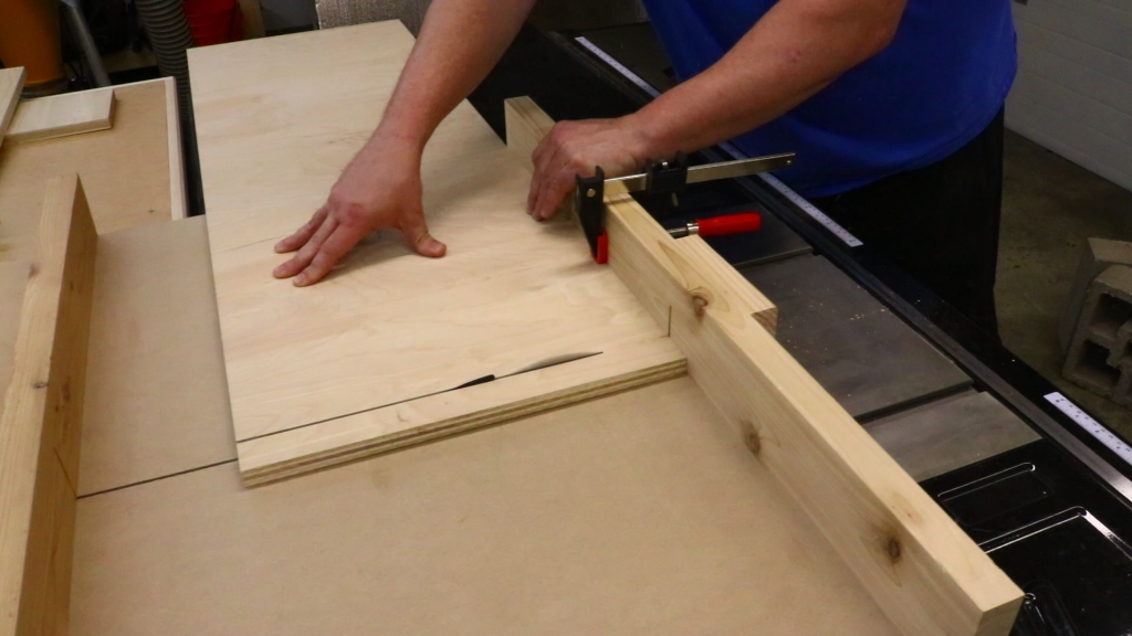 Cutting the pieces for the scrap wood storage cart to length using the crosscut sled