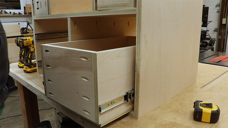 Aligning the drawer slides with the front of the drawer