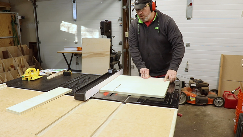 Breaking down plywood into drawer parts