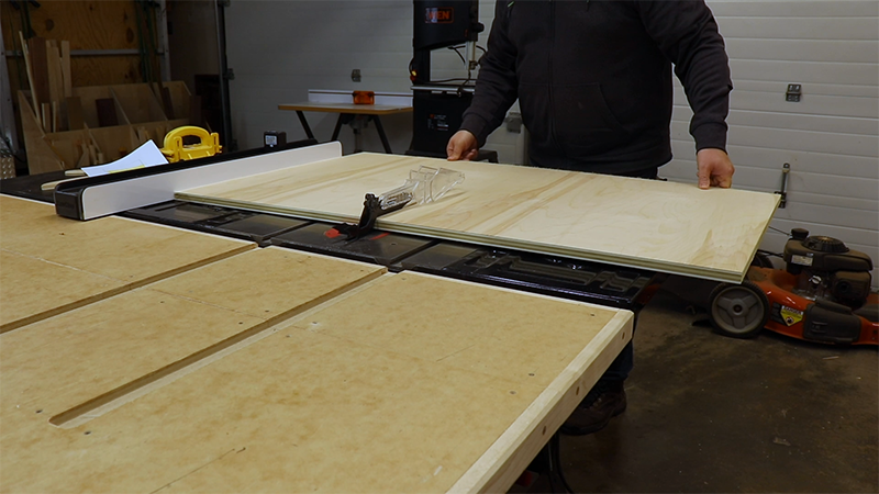 Breaking down the plywood with my table saw