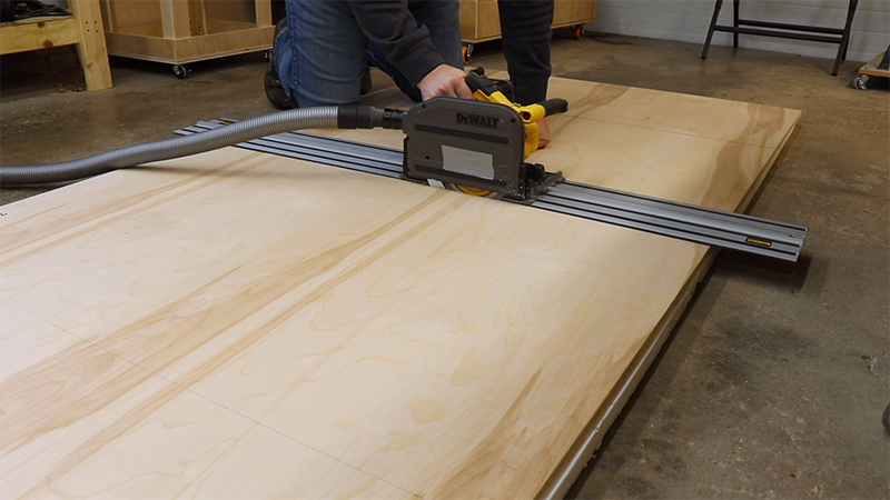 Breaking down the plywood with my track saw