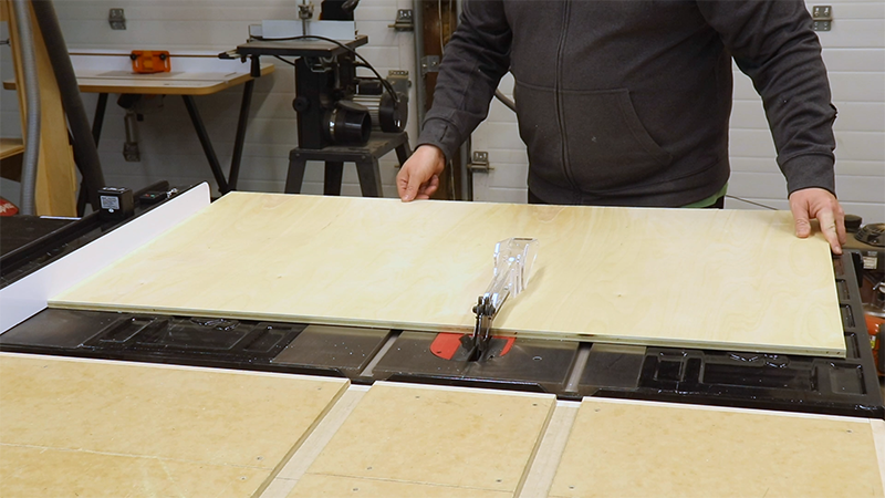 Cutting out the back on the table saw
