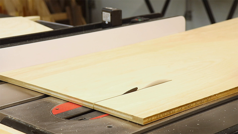 Cutting the drawer bottoms on the table saw