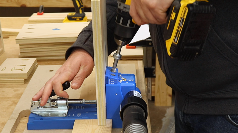 Drilling pocket holes in all of the drawer parts