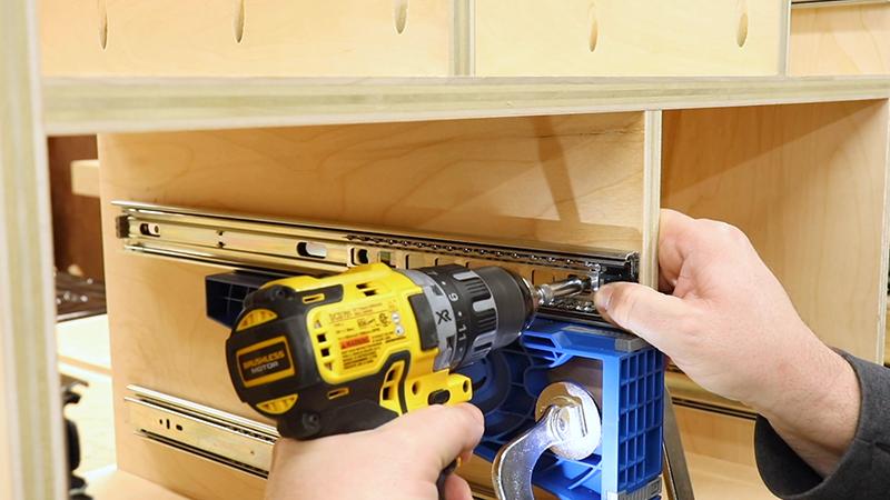 Installing the rest of the drawer slides
