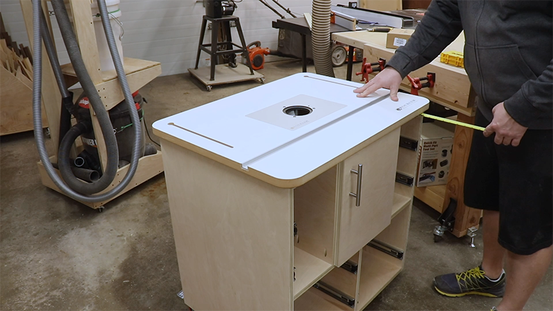 Positioning the top on the cabinet