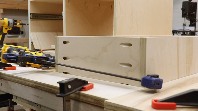 Using clamps to keep the drawers square