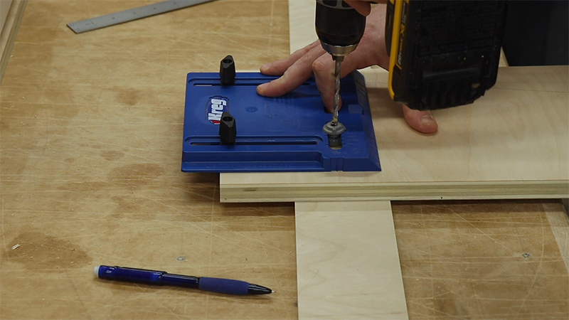 Using the Kreg Cabinet Hardware jig to position the pulls