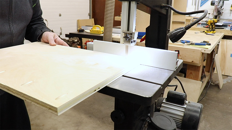 Using the bandsaw to cut away for the stretchers