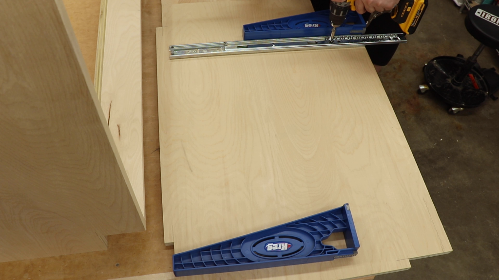 Attaching the Drawer Slides to the Vertical Dividers