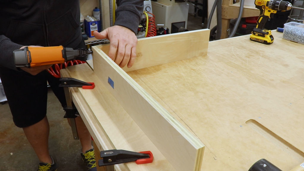 Using Brad Nails to Hold the Drawer Box Parts In Place